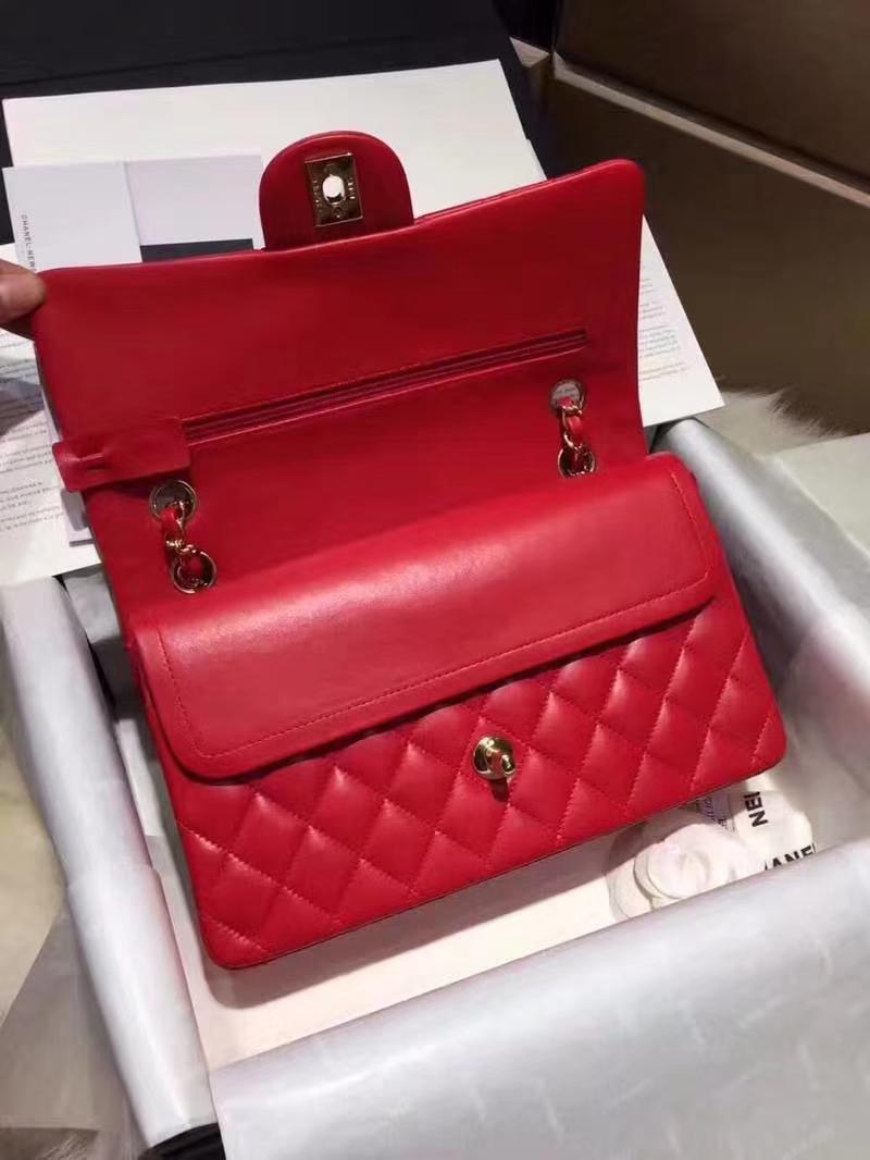Chanel 香奈儿 Classic Flap Bag 进口小羊皮 25cm 现货 大红 金扣