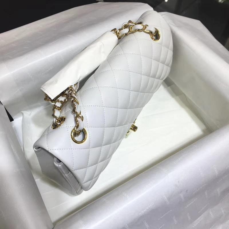 Chanel 香奈儿 Classic Flap Bag  25cm 进口小羊皮 现货 白色 金扣