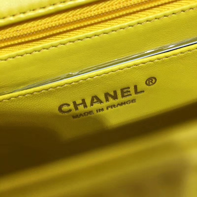 Chanel 香奈儿 Classic Flap Bag  20cm 进口小羊皮 现货 明亮黄 金扣