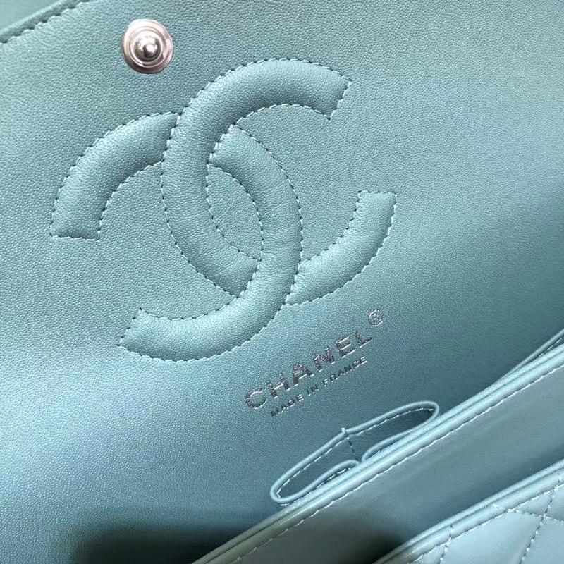 Chanel 香奈儿  CF 经典系列 小羊皮 薄荷绿 25cm 银扣