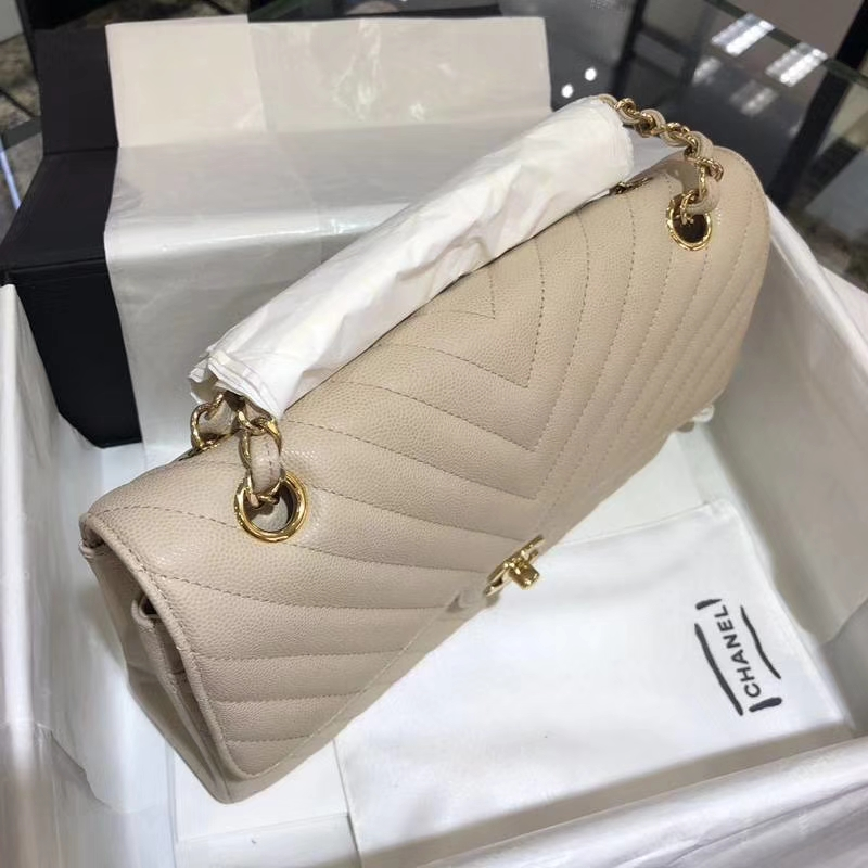 Chanel V字绣 25cm 香槟色 金扣 专柜同步 现货