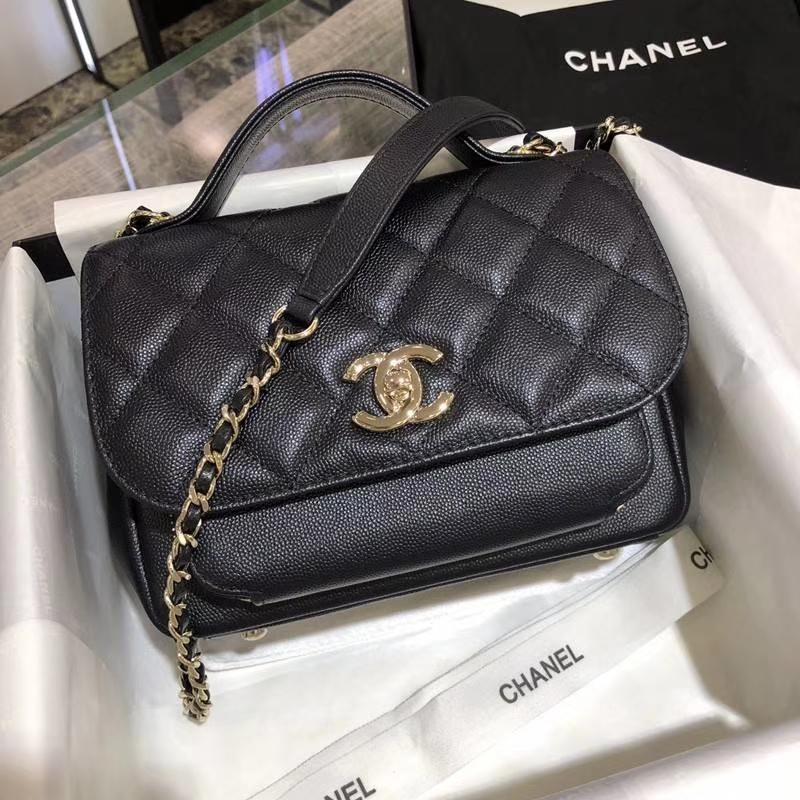 Chanel香奈儿邮差包20cm黑色 进口小鱼子酱 香槟五金 现货