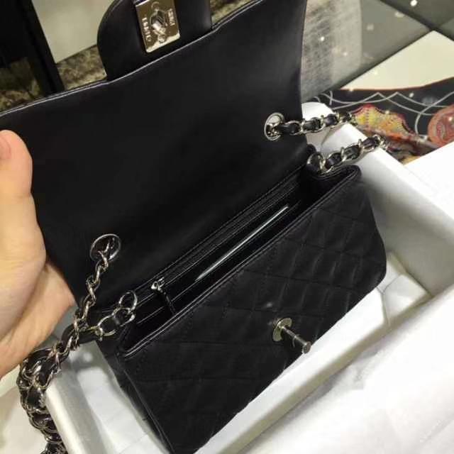 Chanel 香奈儿 Cf 20cm 小羊皮 黑色 银扣