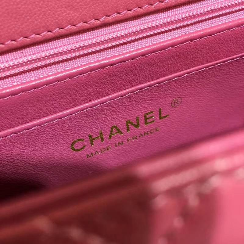 CHANEL 小香 Classic Flap Bag 进口小羊皮 17cm 现货 桃粉色 金扣