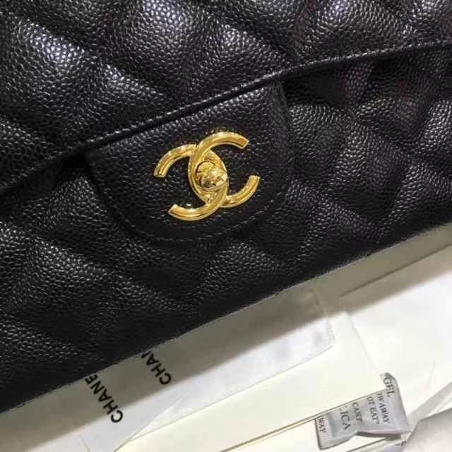 Chanel 香奈儿 Classic Flap Bag  进口鱼子酱 30cm 现货 黑色 金扣