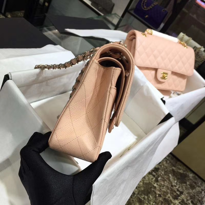 Chanel 香奈儿 Classic Flap Bag  进口鱼子酱 25cm 现货 少女粉 银扣