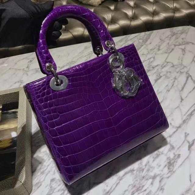 Dior 迪奥 戴妃包 Lady Dior VIP私人定制鳄鱼 5格 24cm 戴妃 紫水晶
