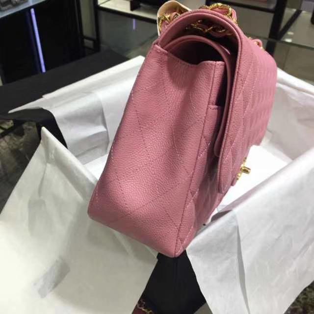 Chanel 香奈儿 Classic Flap Bag  进口鱼子酱 30cm 现货 桃粉色 金扣