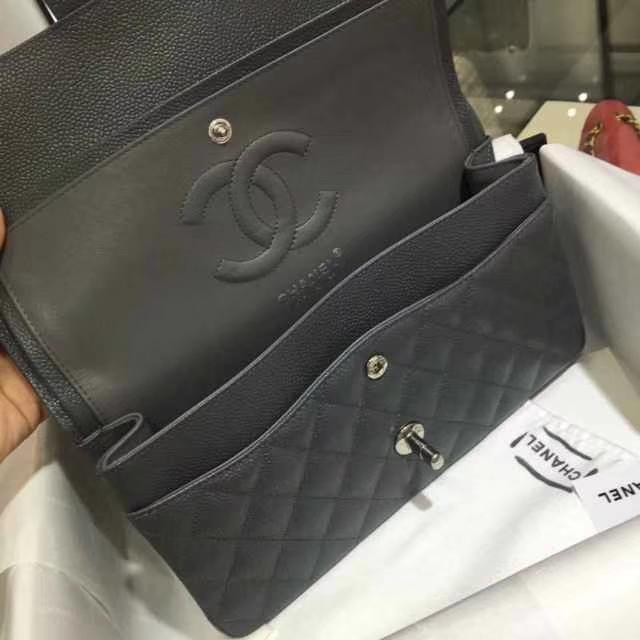 Chanel 香奈儿 Classic Flap Bag  进口鱼子酱 25cm 现货 锡器灰 银扣