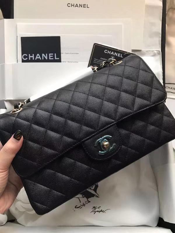 Chanel 香奈儿 Classic Flap Bag  进口小鱼子酱 25cm 黑色 香槟金
