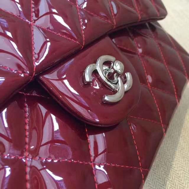 Chanel 香奈儿 Chanel Classic Flap 30CM 漆皮 银扣