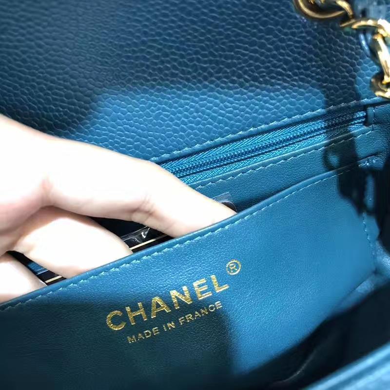 Chanel 香奈儿 Chanel Classic Flap 鱼子酱 20cm 孔雀蓝 金扣 现货