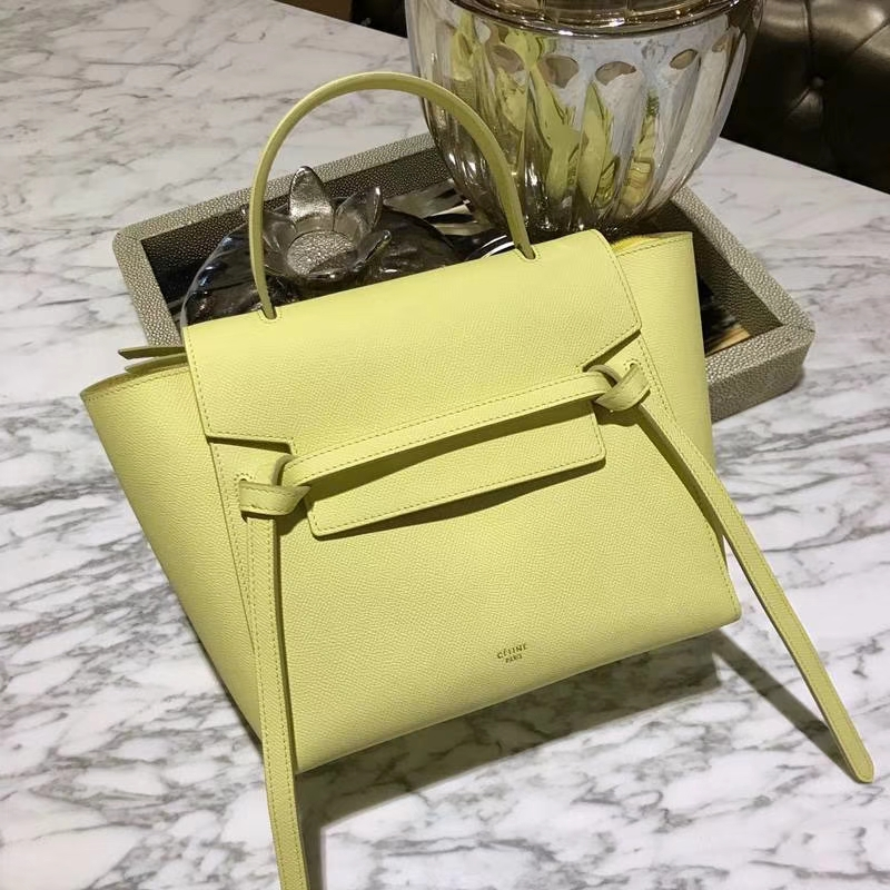 Celine鲶鱼包(24cm~27cm)柠檬黄实拍  法国 进口掌纹牛皮原装YKK钢扣拉链