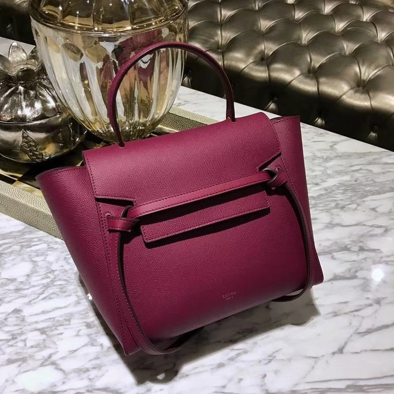Celine鲶鱼包(24cm~27cm)紫红色实拍  法国 进口掌纹牛皮原装YKK钢扣拉链
