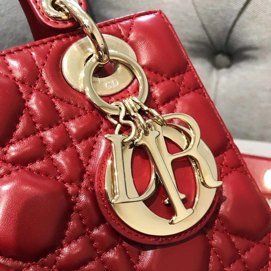 Dior 迪奥 戴妃包 Lady Dior 四格羊皮戴妃包 徽章自选 大红色