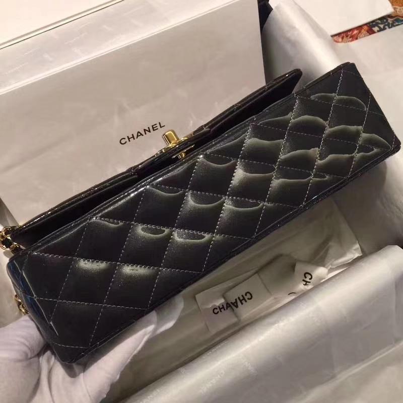 Chanel 香奈儿 Classic Flap Bag  进口漆皮 25cm 星空灰 金扣