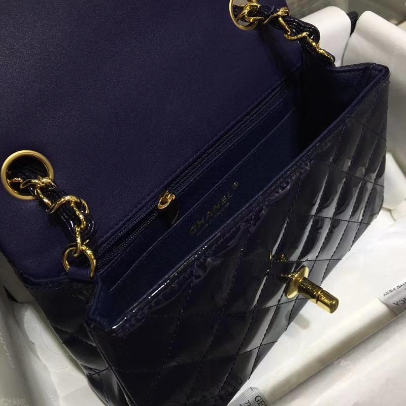 Chanel 香奈儿 Classic Flap Bag  进口漆皮 20cm 海军蓝 金扣