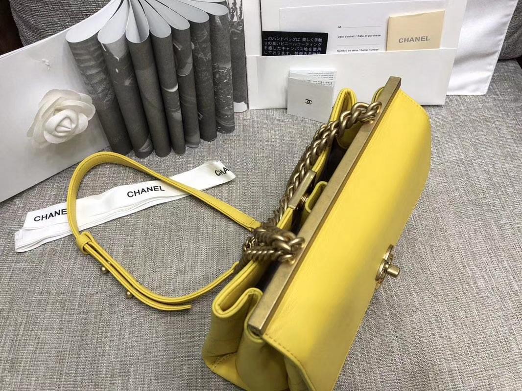 2018年新款口盖包 进口小羊皮 金色金属黄 柠檬黄 23cm