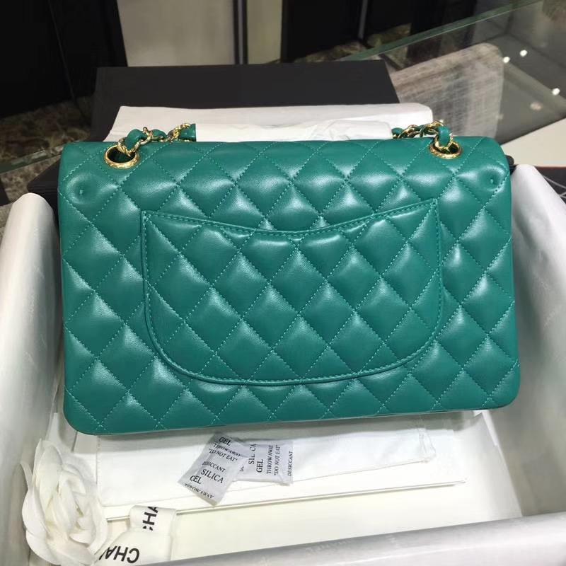 Chanel 香奈儿  Classic Flap Bag 进口小羊皮 25cm 现货 湖水绿 香槟金