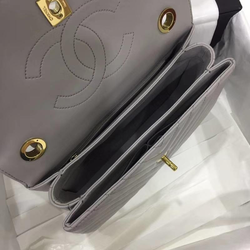 Chanel 香奈儿 2018年新款Trendy CC 大V款 大象灰 香槟金
