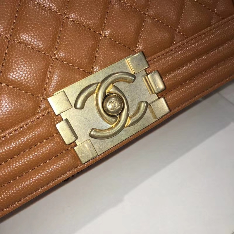 Chanel 香奈儿 leboy 25cm 小鱼子酱 黄色 焦糖色 纱金