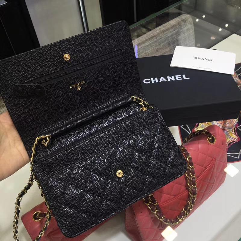 Chanel 香奈儿 发财包 WOC小挎包 进口鱼子酱 金扣