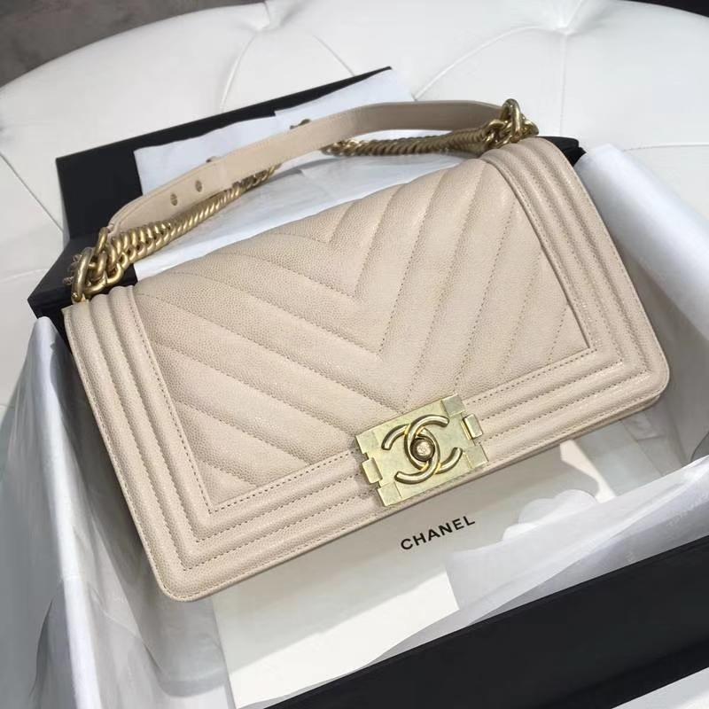 Chanel 香奈儿 leboy 25cm 小鱼子酱 香槟金 沙金 大V绣