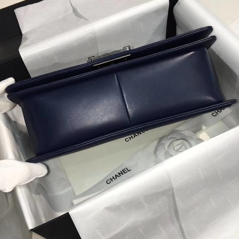 Chanel 香奈儿 leboy 25cm 胎牛皮 宝石蓝 古银 V款