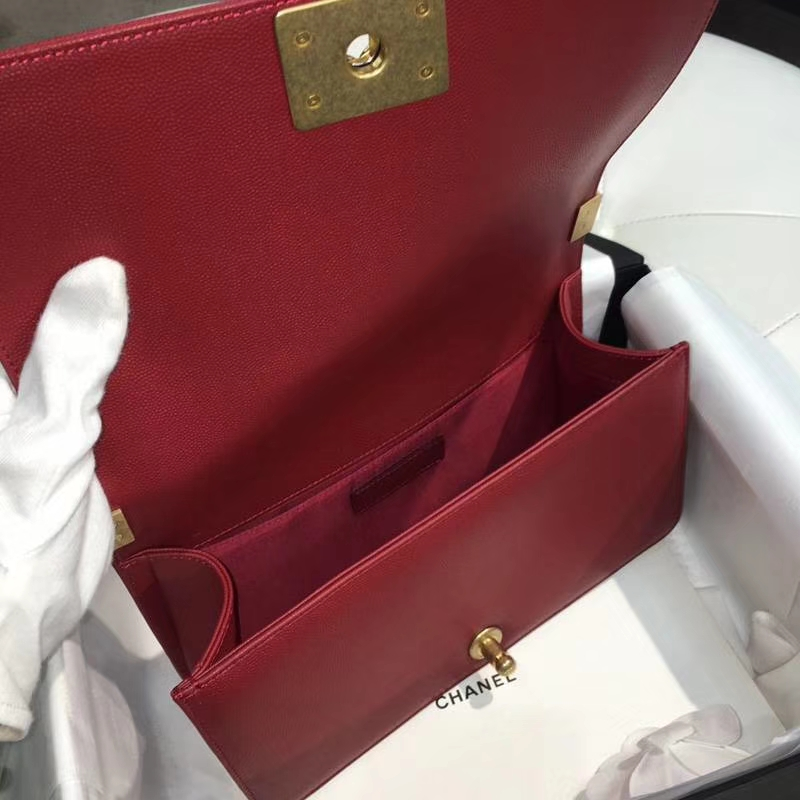 Chanel 香奈儿 leboy 25cm 小鱼子酱 玫瑰红 纱金