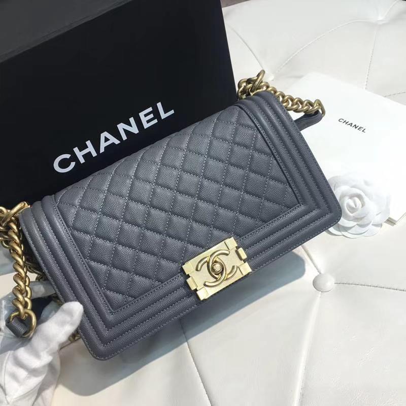 Chanel 香奈儿 leboy 25cm 小鱼子酱 灰色 纱金