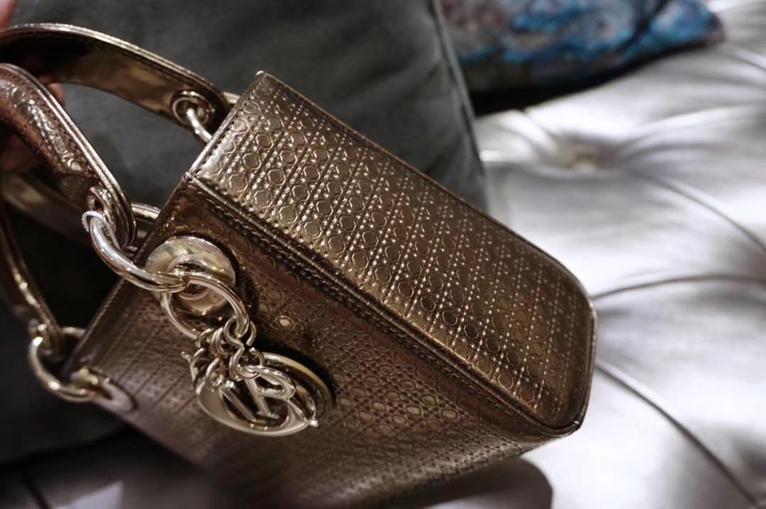 Dior 迪奥戴妃包 Lady Dior 小号17cm古铜金色戴妃 聚会必备 闪耀全场