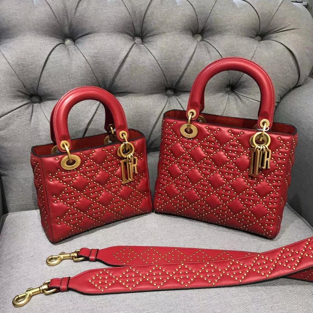 Dior 迪奥 戴妃包 Lady Dior 牛皮铆钉包 女神专属红色 限量版 手工打制 复古风五格铆钉包