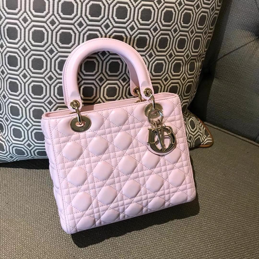 Dior 迪奥 经典羊皮 戴妃包 Lady Dior五格24cm 水粉色