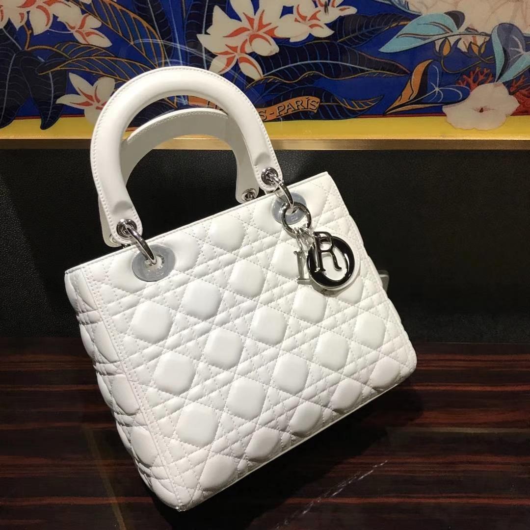 Dior 迪奥 经典羊皮 戴妃包 Lady Dior五格24cm 纯白色