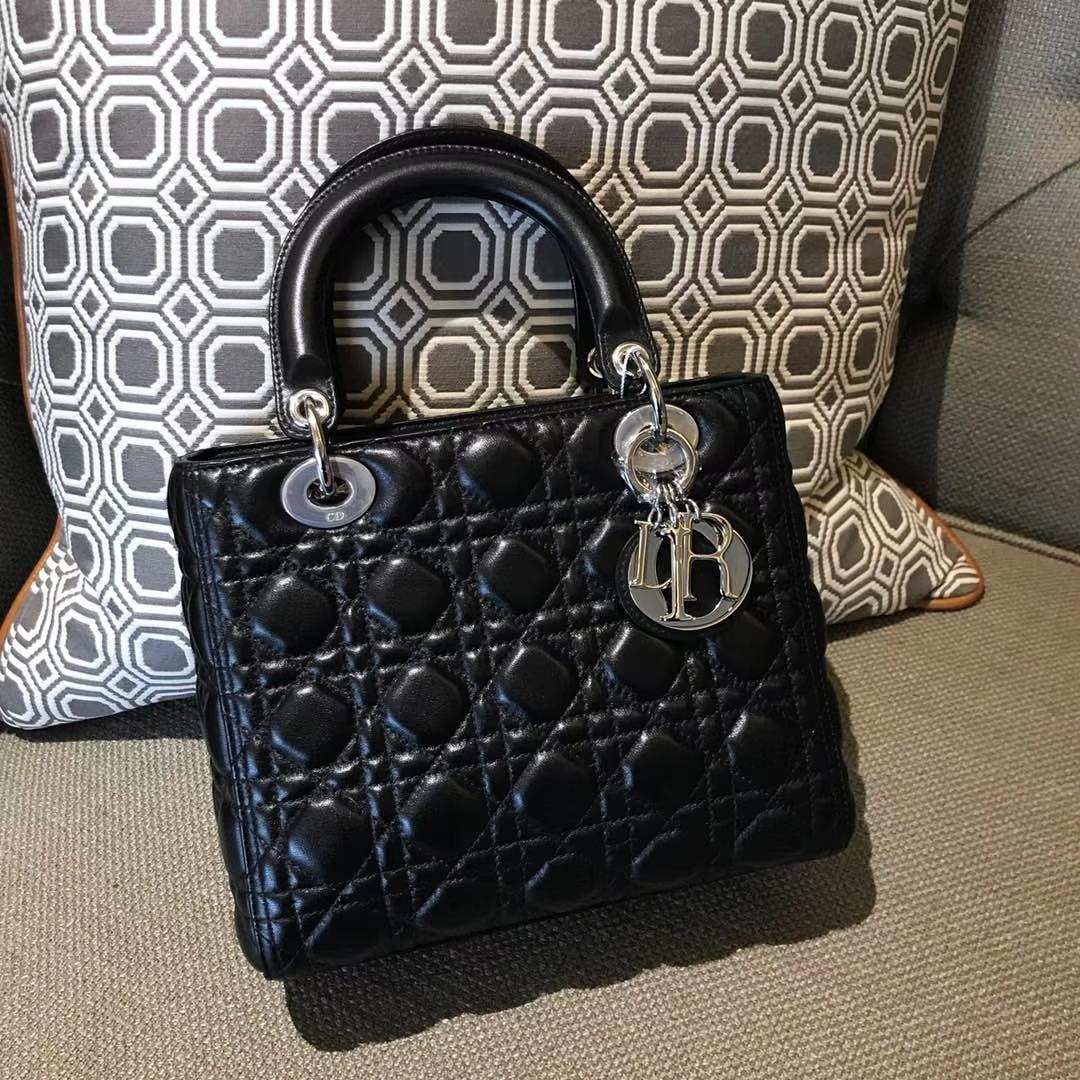 Dior 迪奥 经典羊皮 戴妃包 Lady Dior五格24cm 黑色
