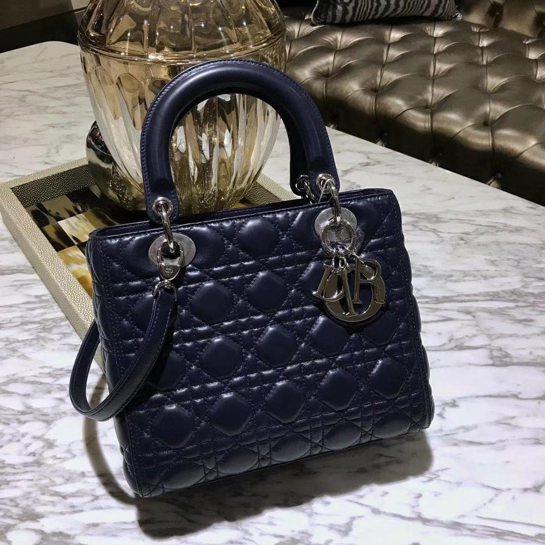 Dior 迪奥 经典羊皮 戴妃包 Lady Dior五格24cm 深海蓝