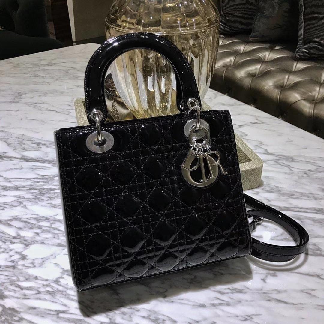 Dior 迪奥 经典牛皮 戴妃包 Lady Dior五格24cm 黑色