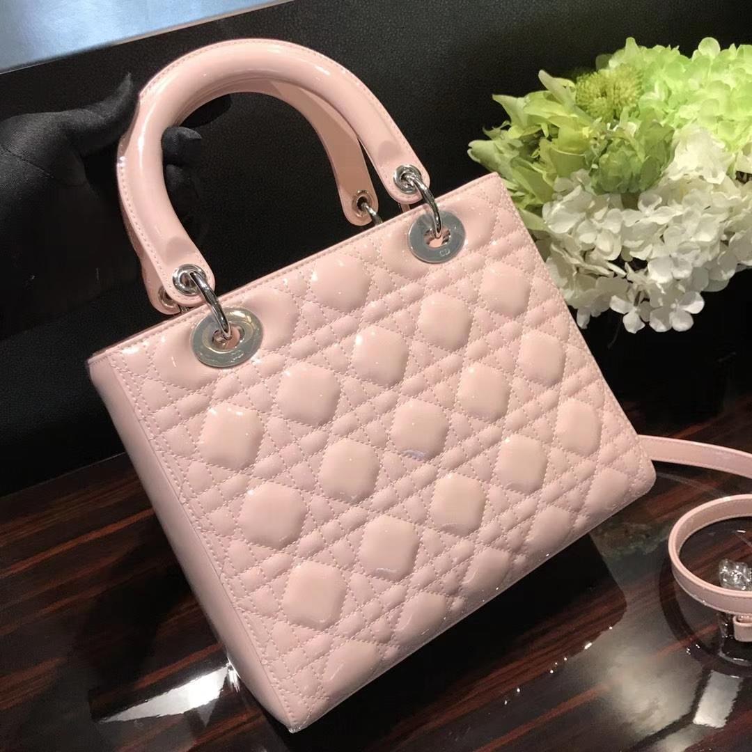Dior 迪奥 经典牛皮 戴妃包 Lady Dior五格24cm粉色
