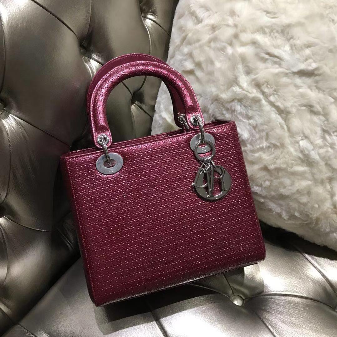 经典Dior 迪奥 戴妃包 Lady Dior 五格漆皮戴妃 酒红