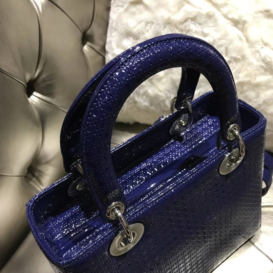 Dior 迪奥戴妃包 Lady Dior 漆皮压纹 至尊宝石蓝 专柜品质
