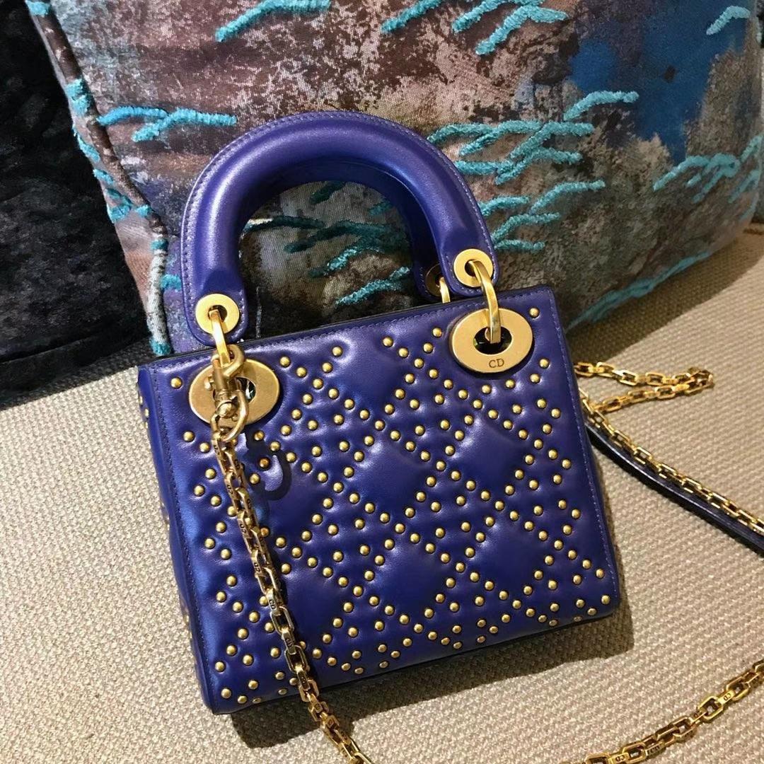 Dior 迪奥 定制版小号17cm铆钉包 戴妃包 Lady Dior mini 蓝色