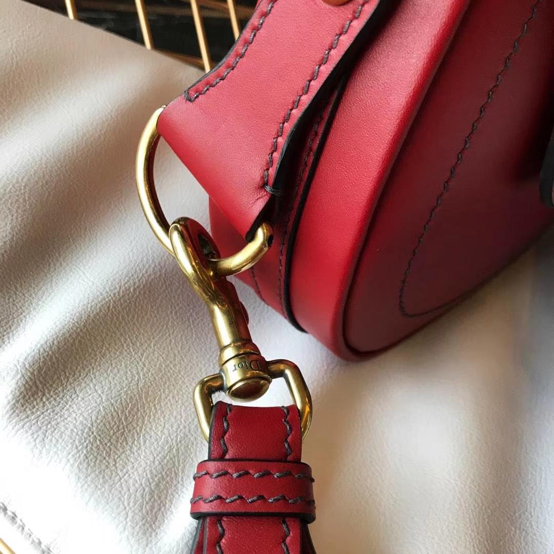 Dior 迪奥 小手提包 DIORAMA 红色 牛皮马鞍包 22.5cm
