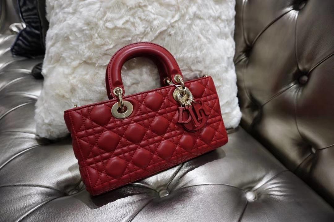 Dior 红色羊皮手提包 金扣 意大利原厂水染小羊皮制作  原厂尾料皮