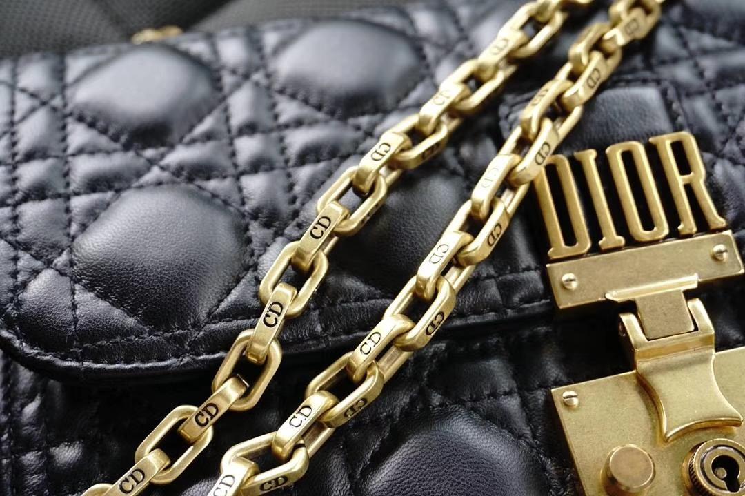 Dior 迪奥 Miss黑色羊皮 链条包21cm  意大利原厂水染小羊皮制作原厂正品皮