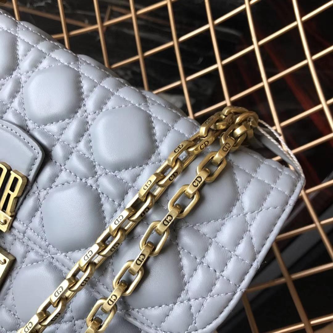 DIOR 迪奥 Miss灰色 羊皮 链条包21cm