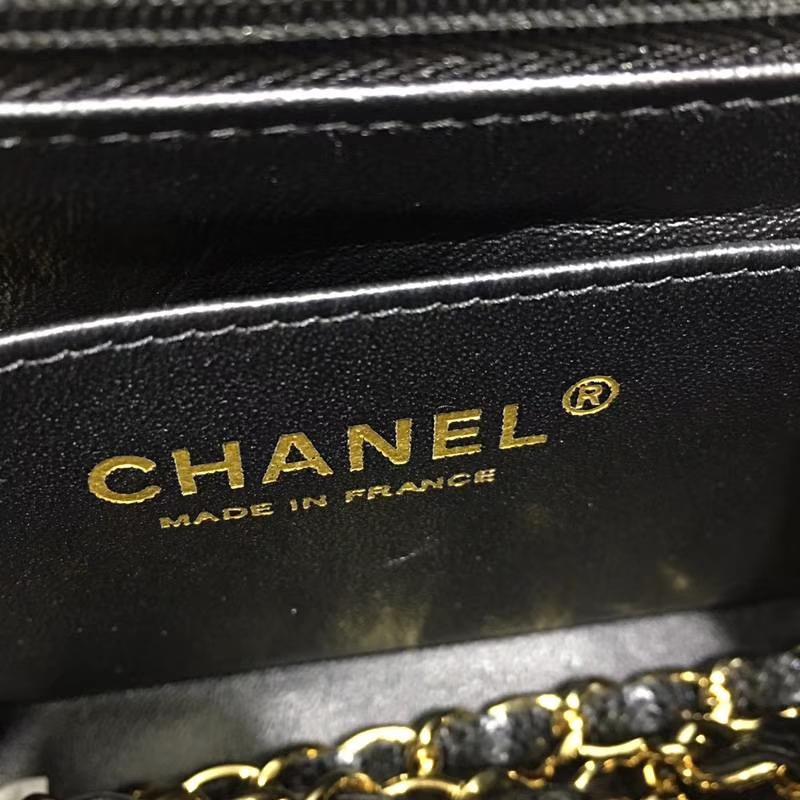 Chanel 香奈儿 CF 经典系列 鱼子酱 黑色 17cm 金扣