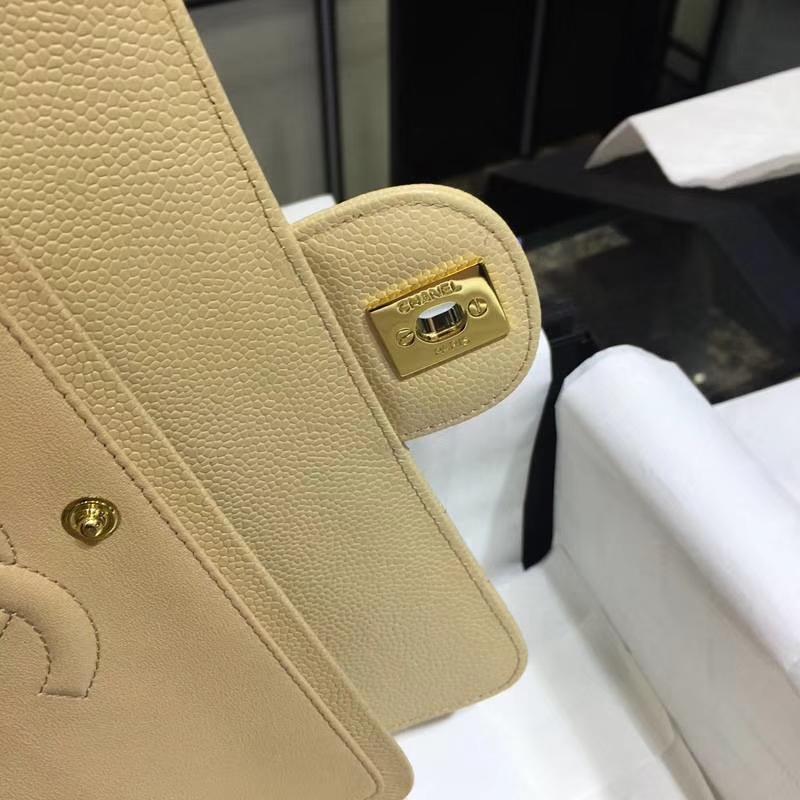 Chanel 香奈儿 Classic Flap 鱼子酱【杏色】车边 25cm 金(现货)