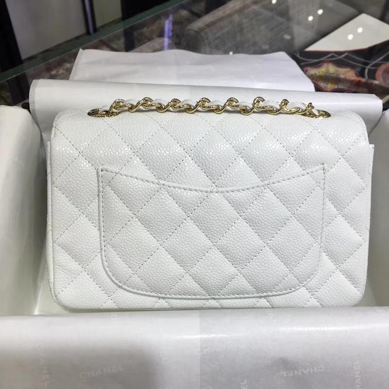 Chanel 香奈儿 ClassicFlap 鱼子酱【白色】 20cm  金(现货)