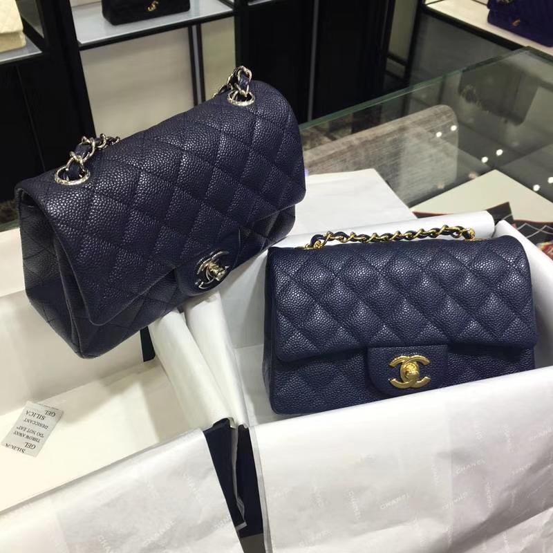 Chanel 香奈儿 ClassicFlap 鱼子酱【海军蓝】 20cm 金(现货)