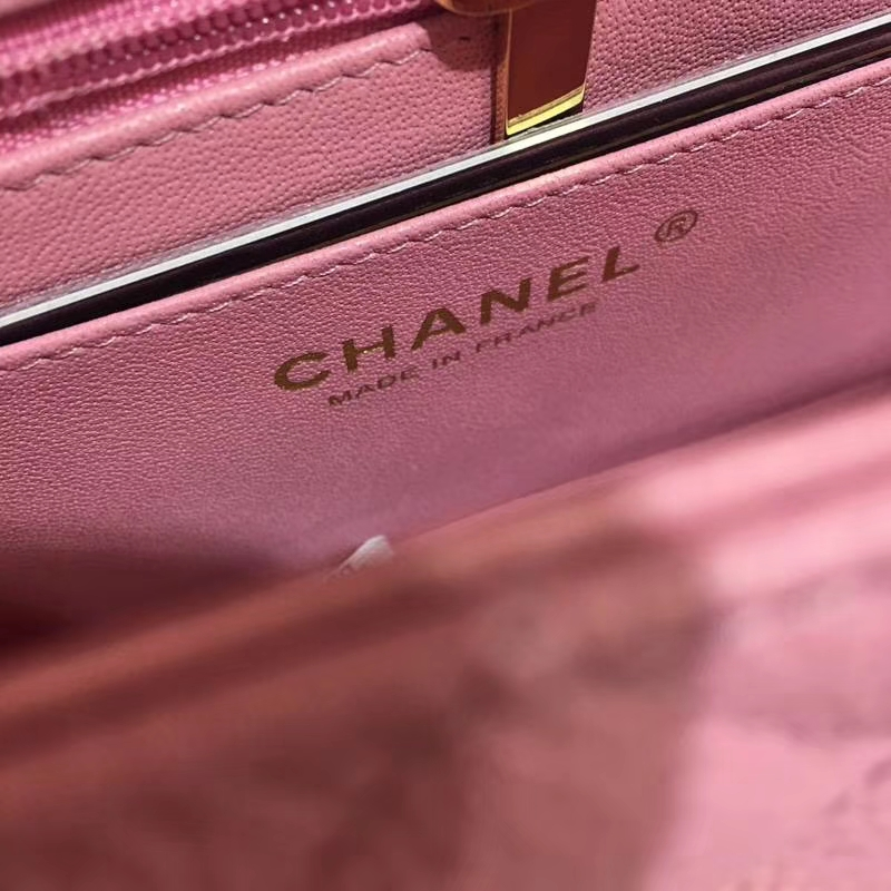 Chanel 香奈儿 ClassicFlap 鱼子酱 桃粉 20cm 金 现货